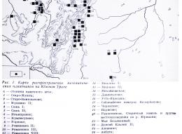 Карта распространения памятников мезолита на Южном Урале