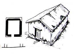 Дом начала VI в. в Пантикапее (план и реконструкция)