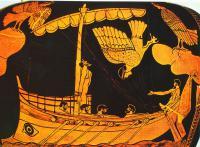 Одиссей и сирены. Роспись на аттическом чернолаковом сосуде. Около460-е гг. до н